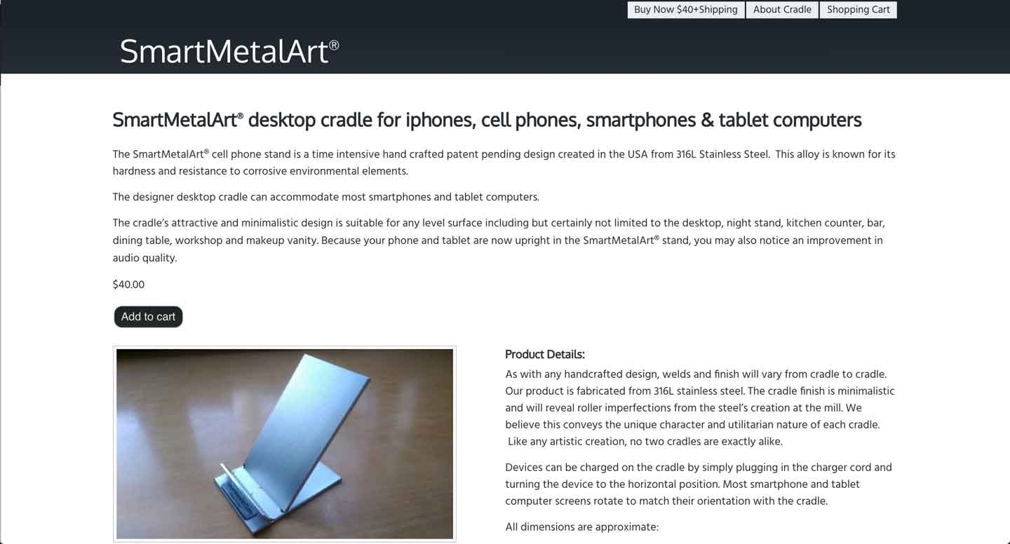 Thumbnail for SmartMetalArt® Desktop Cradle